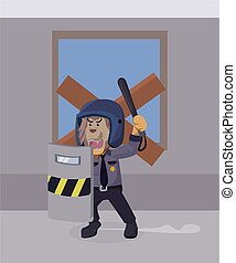 police lion is on guard vector illustration