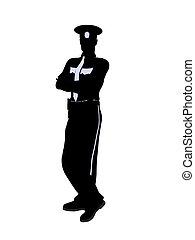 police, mâle, silhouette, officier, illustration