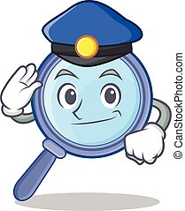 Police magnifying glass character cartoon