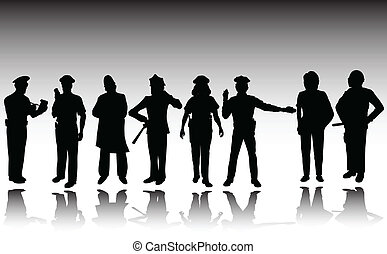 police man and woman vector silhouettes