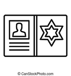 Police man id card icon, outline style