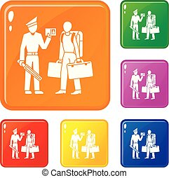 Police man immigration icons set vector color