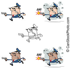 Police Man Running With A Gun