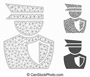Police Man Vector Mesh Wire Frame Model and Triangle Mosaic ...