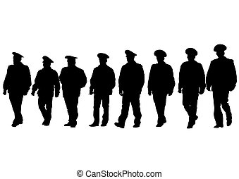 Police men - People of special police force on white...