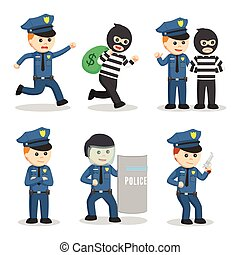 police, mettez stylique, officier, illustration