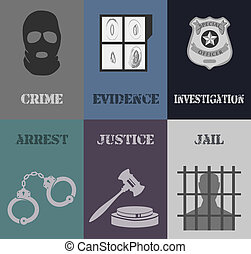 Police crime evidence investigation mini posters with arrest jail justice isolated vector illustration