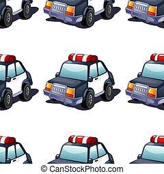 police, modèle, seamless, voiture, carreau, dessin animé