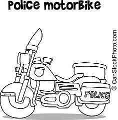 Police motorcycle motor bike illustration on white.