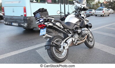 police motorbike and emergency lights, shoot Canon 5D Mark...