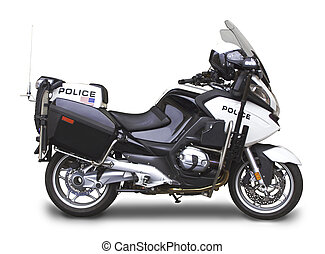 Police Motorcycle - Side View Angle - Late model police...