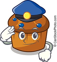 Police mufin blueberry character cartoon
