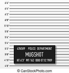 Police mugshot - Add a photo. Vector illustration.