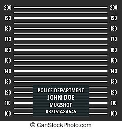 Police mugshot. Police lineup on black background. Vector illustration