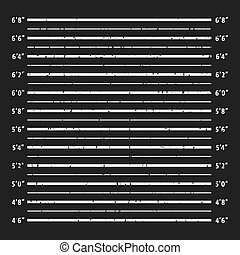 Police mugshot board template. Grunge textured police lineup...