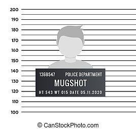 Police mugshot criminal template. Vector silhouette lineup...