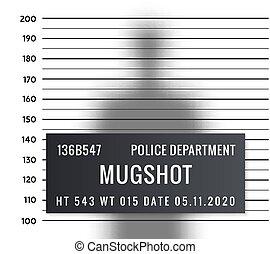 Police mugshot criminal template. Vector silhouette lineup criminal arrest portrait mugshot.