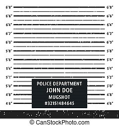 Police mugshot board template. Grunge textured police lineup mug shot. Vector illustration.