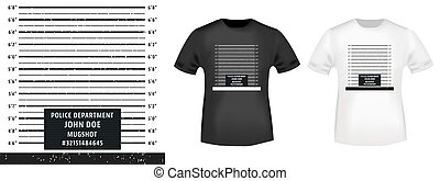 Police mugshot stamp and t shirt mockup