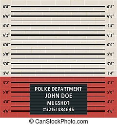 Police mugshot template. Brick wall with police lineup background. Vector illustration.
