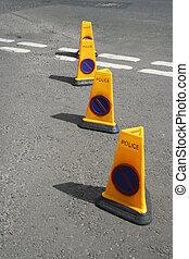 Police no parking cones