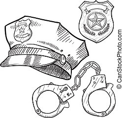 Doodle style policeman objects in vector format including hat, handcuffs, and badge