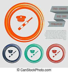 police of hat icon on the red, blue, green, orange buttons for your website and design with space text. Vector
