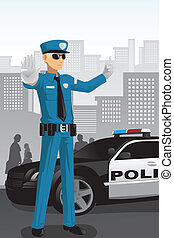 Police officer - A vector illustration of a police officer...