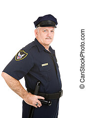 Police Officer - Authority - Serious looking police officer...