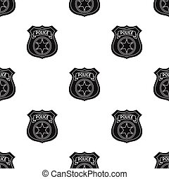 Police officer badge icon in black style isolated on white background. Crime pattern stock vector illustration.