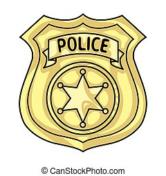 Police officer badge icon in cartoon style isolated on white background. Crime symbol stock vector illustration.