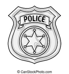 Police officer badge icon in monochrome style isolated on white background. Crime symbol stock vector illustration.