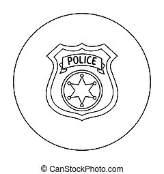 Police officer badge icon in outline style isolated on white background. Crime symbol stock vector illustration.