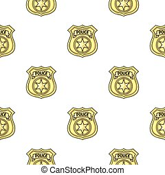Police officer badge icon in pattern style isolated on white background. Crime symbol stock vector illustration.
