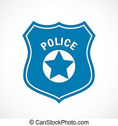 Police officer badge icon on white background