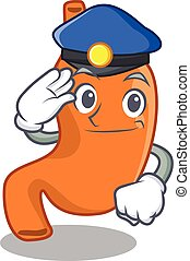 Police officer cartoon drawing of stomach wearing a blue hat. Vector illustration