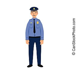 Police officer character. Flat vector illustration. Isolated on white background.
