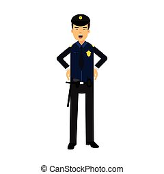 Police officer character in a blue uniform at work vector Illustration