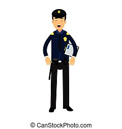 Police officer character in a blue uniform holding clipboard vector Illustration