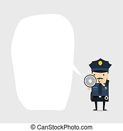 Police officer character in a blue uniform shouting using megaphone with balloon text. Policeman character at work.