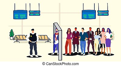 police officer checking passengers and luggage at metal detector x-ray gate full body scanner airport security check concept department terminal interior sketch doodle horizontal