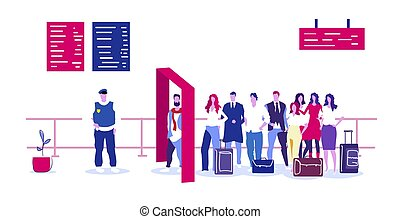 police officer checking passengers and luggage at metal detector x-ray gate full body scanner airport security check concept terminal interior sketch doodle horizontal