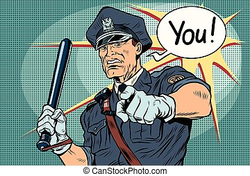 Police officer COP with a baton. Vintage pop art retro comic...