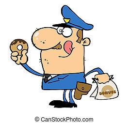 Police Officer Eating Donut