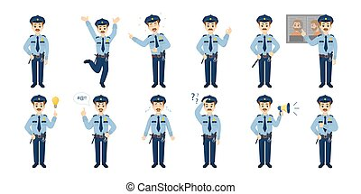 Police officer emoji. - Police officer emoji set on white...