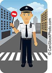 Police Officer - Vector cartoon illustration of a police...