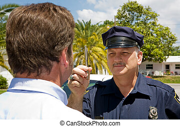 Police Officer - Eye Coordination - Police officer holding a...