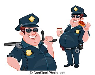 Police officer. Funny cartoon character
