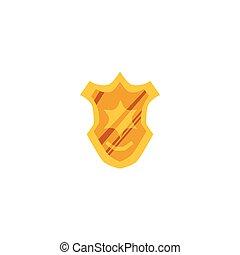 Police officer golden metal badge flat vector illustration isolated on white.