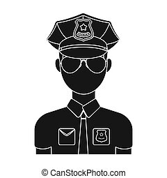 Police officer icon in black style isolated on white background. Police symbol stock bitmap illustration.